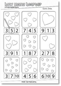 How Many Hearts? Counting worksheet for Preschool/Kindergarten. How Many Hearts?