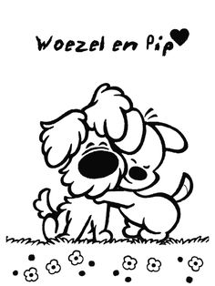 Woezel en pip kleurplaten Silhouette Cameo Disney, Baby Silhouette, Cute Dog Drawing, Wall Drawing, Cute Coloring Pages, Simple Doodles, Collage, My Little Girl, Stone Art