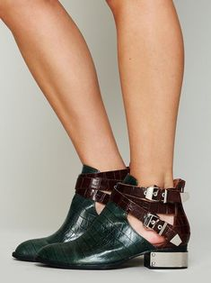 Free People Overland Croc Ankle Boot GREEN BOOTIES JEFFREY CAMPBELL SHOES $228 #JeffreyCampbell #Booties #Casual