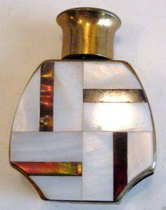 Art Deco  botella de perfume miniatura latón madre-perla de cartera