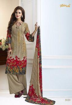 #Vaishali Print #Crepe Indian #SalwarKameez Suit 3121 #Beige #Red