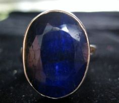 Sterling Silver 10.5 Carat Genuine Sapphire Ring Size 7-7.25