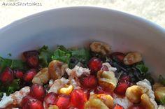 Pomegranate, Baby Kale-and Wild Rice Salad-with Walnuts and Feta   ++ http://annashortcakes.com