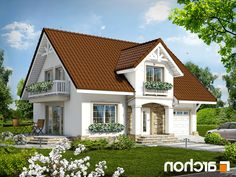 gotowy projekt Dom w lantanach Small Country Homes, Cottage Homes, Modern House Design, Home Fashion, Bungalow, Outdoor Structures, Cabin, Mansions, House Styles