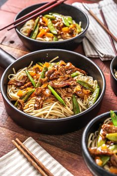 Chow mein noodles make the base of this fantastic stir-fry! These are popular egg noodles in Asian cuisine, particularly in stir-fries. Tonight they are paired with juicy beef and a sweet and salty sauce. Don't be afraid to slurp and enjoy each bite! Asian Recipes, Beef Recipes, Cooking Recipes, Healthy Recipes, Ethnic Recipes, Weeknight Recipes, Weeknight Dinners, Healthy Eating Tips, Healthy Nutrition