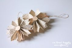 """We Lived Happily Ever After: Cheap Last Minute Christmas """"Vintage Book Page"""" Ornaments 