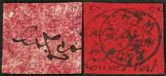"""China Shanghai 1898 Handstamp """"C & Co and WHW"""" on Firecracker Paper (SG 2), with courier post in manuscript, 5c black on scarlet, unused, bearing Postmaster's signature on reverse, only about 300 copies of the 5c were sold, very rare."""