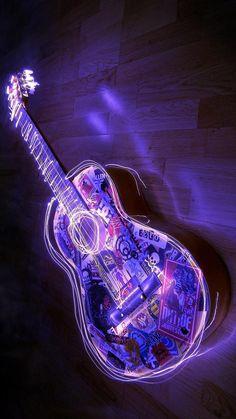 Violet Aesthetic, Dark Purple Aesthetic, Lavender Aesthetic, Aesthetic Colors, Aesthetic Collage, Aesthetic Black, Purple Wallpaper Iphone, Neon Wallpaper, Guitar Art