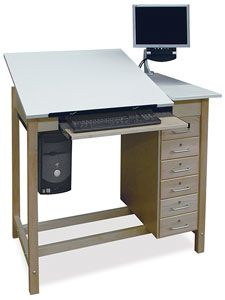 """Adjustable Top Drafting Table — The adjustable 30"""" wide × 30"""" deep × ¾"""" thick work surface is supported by a sturdy ratcheting mechanism. The right-hand reference top measures 12""""W × 30""""D. This unit includes a six-drawer storage unit, pull-out keyboard tray, hanging steel CPU holder, a monitor arm, and wire management system. The desk measures 38¼""""H × 42""""W × 30""""D at the front edge. It is made of northern hard maple or red oak. Weighs 175 lb."""