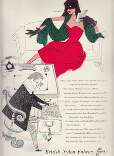 British Nylon Fabrics ad. Masked female spy in red reclining on sofa illustration. From 'The Ambassador' UK Export mag for the textile industry #10 1958. (minkshmink collection)