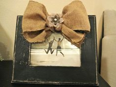 Black distressed frame with burlap bow and flower by katieruebel, $40.00
