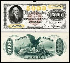 Large denominations of United States currency - Wikipedia 5000 Dollar Bill, Money Notes, Valuable Coins, American Coins, Coin Values, Coins For Sale, Old Money, Old Coins, Coin Collecting