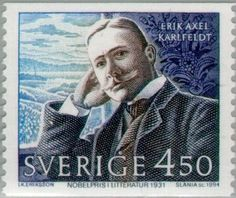 Sello: Nobel Laureates in Literature (Erik Axel Karlfeldt) (Suecia) (Nobel Prize Winners - Literature) Mi:SE 1873 Nobel Prize Winners, Stamp Catalogue, Nobel Peace Prize, Stamp Collecting, Postage Stamps, Famous People, My Love, World, Collection