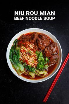 Niu Rou Mian Taiwanese Beef Noodle Soup 牛肉麵 Recipe & Video - Seonkyoung Longest Taiwanese Beef Noodle Soup Recipe, Taiwanese Fried Chicken Recipe, Asian Noodle Recipes, Easy Asian Recipes, Ethnic Recipes, Taiwanese Recipe, Korean Recipes, Chinese Recipes, Korean Food