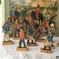 Vintage wood and paper  lithograph toy soldiers and horse set in original box~10 pieces~ antique toys from MilkweedVintageHome by MilkweedVintageHome on Etsy