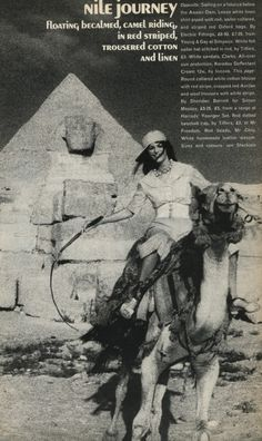 Jean Shrimpton photographed in Egypt by David Bailey for Vogue UK, January 1972.