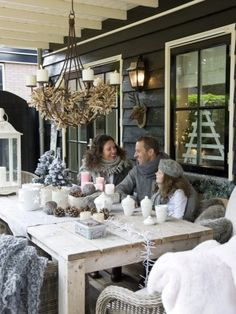 Enjoy your outdoor furnishing through the winter by adding cozy throws, plush pillows, and a mug of hot chocolate!
