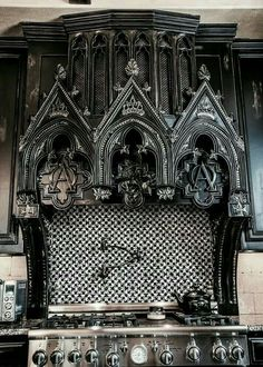 Amazing Gothic Black Kitchen Interior Design Ideas What's Decoration? Decoration may be the art of decorating … Gothic Interior, Modern Interior, Goth Home Decor, Gothic Bedroom Decor, Gothic Room, Horror Decor, Gothic Furniture, Bedroom Furniture, Diy Furniture