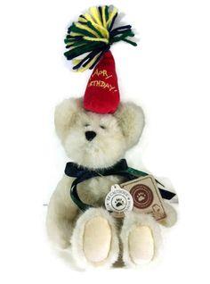 "Boyds Bears H. B. Bearwish 8"" Retired  White Bear Red Happy Birthday Hat #Birthday"