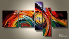Wholesale Art Modern Abstract Oil Painting on Canvas Classic Living Room Decor 5 pieces Museum Quality Crafts, Free shipping, $47.03-62.7/Set | DHgate