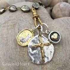 Grace&Heart's Emblem Initial Charm, Medallion Cross Charm, and Charming Heart Charm Tina.GraceandHeart@gmail.com #GraceandHeart