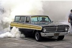 '65 Ford Falcon Squire Wagon Burnout! Underhood supercharger, no tubs, and insanely fast!
