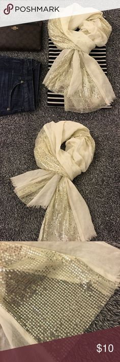Cream scarf with sequin detail - adds a lil bling! Not sure of the brand but I think it's from Aeropostale! Minor signs of wear but nothing major or obvious. See pictures for details and condition! Great pre loved shape and from a smoke free home! Questions? Ask me! Offers and bundles welcomed! (I price for negotiation and have a 20% bundle discount on two plus items). Thanks for stopping by! Have a great day! Aeropostale Accessories Scarves & Wraps