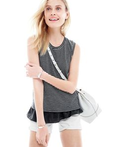 MAY '15 Style Guide: J.Crew women's striped ruffle hem tank and downing bucket bag.