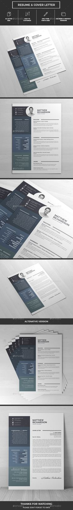 Resume Template, Resume cv and Typography - what font for resume