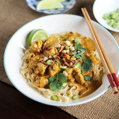 Egg Noodles with Chicken Curry Sauce    http://www.thekitchn.com/recipe-egg-noodles-with-rich-chicken-curry-sauce-khao-soi-179140#