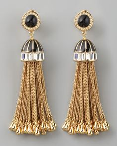 DIY Inspiration to take Gold Home Decor Tassels and add metallic holder to earing top!   Rachel Zoe Rhinestone Tassel Drop Earrings - #NeimanMarcus
