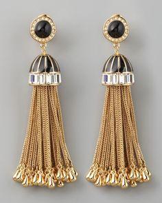 DIY Inspiration to take Gold Home Decor Tassels and add metallic holder to earing top!   Rachel Zoe Rhinestone Tassel Drop Earrings - #NeimanMarcus