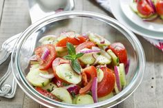 The BEST Cucumber, Onion and Tomato Salad - So Refreshing!