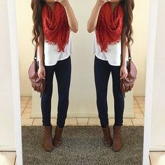 65 Trendy Ideas for dress red casual winter fall outfits Red Scarf Outfit, Red Dress Outfit Casual, Dress Red, Booties Outfit, Summer Outfit, Swag Outfits, Girly Outfits, Cute Outfits, Fashion Outfits