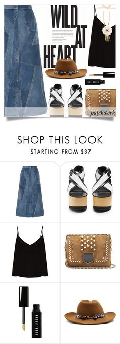 """Wild at Heart"" by alaria ❤ liked on Polyvore featuring Yves Saint Laurent, Isabel Marant, Raey, Jimmy Choo, Bobbi Brown Cosmetics, Maison Michel, Lanvin and patchwork"