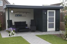 Pavilion with flat roof F Small Garden Design, Yard Design, House Design, 8x12 Shed Plans, Shed With Porch, Outdoor Rooms, Outdoor Decor, Pergola, Backyard Patio Designs