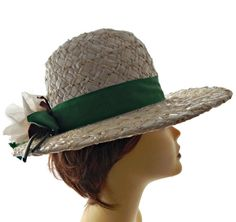 Mr John Straw Hat Wide Brim White with Green by EclecticVintager