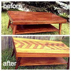Dodge Design Bureau: Before and After of the Burgundy Coffee Table. Furniture makeover DIY.