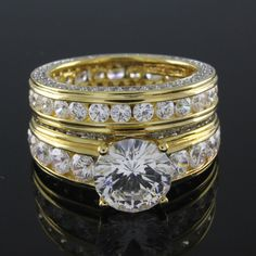 Beautiful 7.14 ct VVS1 Round Cut Diamond 2-piece Bridal Ring Set 023R #Affinityjewelry #EngagementWeddingBand