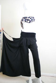 YOHJI YAMAMOTO DESTRUCTED 2 LAYERS 100%SILK WIDE LEG BLACK SKIRTED PANTS JP1  #YohjiYamamoto #DESTRUCTED