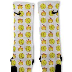 Softball Emoji Custom Nike Elite Socks
