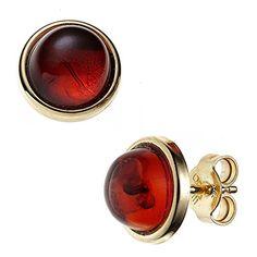 Women's Ear Studs Ø Ca 10 mm round 375 Yellow Gold 2 Ambers Orange Earrings Orange Earrings, Tiny Earrings, Wessel, Bernstein, Orange Fashion, Ear Studs, Orange Color, Fine Jewelry, Jewellery