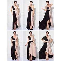 TS+Couture®+Prom+/+Formal+Evening+/+Military+Ball+Dress+-+Color+Block+Plus+Size+/+Petite+Sheath+/+Column+Tea-length+Knit+with+–+USD+$+69.99