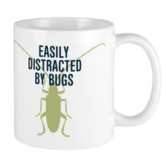 Humorous entomology gift idea for the entomologist. Ceramic coffee mug says: Easily Distracted By Bugs Biology Humor, Chemistry Jokes, Grammar Humor, Science Jokes, Life Science, Song Words, Montessori Elementary, Science Gifts, Teacher Memes
