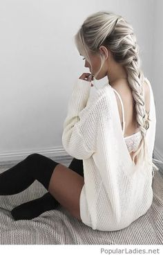 Grey hair, sweater dress