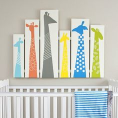 DIY Giraffe Wall Art for a baby nursery, a toddler room, a play room, etc. How cute this would be as a headboard too!