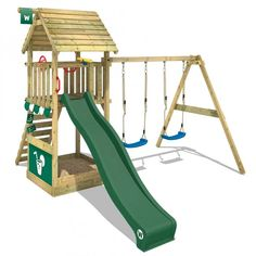 Climbing frame WICKEY Smart Shelter with swing, slide and sandpit Garden Climbing Frames, Wooden Climbing Frame, Shelter, Garden Playhouse, Create Your Own Adventure, Monkey Island, Swing Seat, Tarpaulin, Shopping