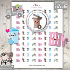 Clean Up Stickers, Planner Stickers, Clean Up Planner Stickers, Garbage Stickers, Garbage Planner Stickers, Trash Stickers, Housekeeping