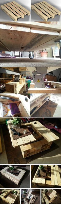This coffee table made from repurposed wooden pallets is interesting as it has a huge storage area inside the table and a mechanism to lift up and slide. Also, there are many small compartments for storage outside the table. It…