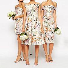 Satin Floral Print Bridesmaid Dress with Empire Waist